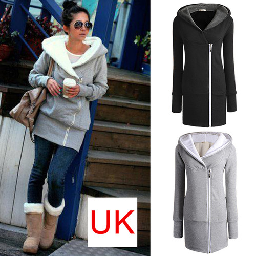 New Women's Long Zip Tops Hoodie Coat Jacket Outerwear Sweatshirt UK Size 8-22 | Amazing Shoes UK