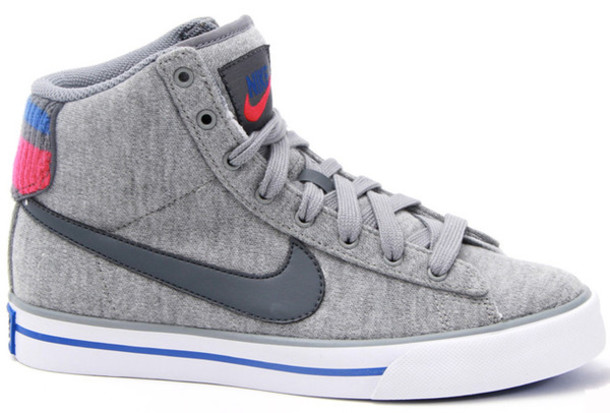 shoes grey fabric high top sneakers nike high tops nike nike shoes wheretoget. Black Bedroom Furniture Sets. Home Design Ideas