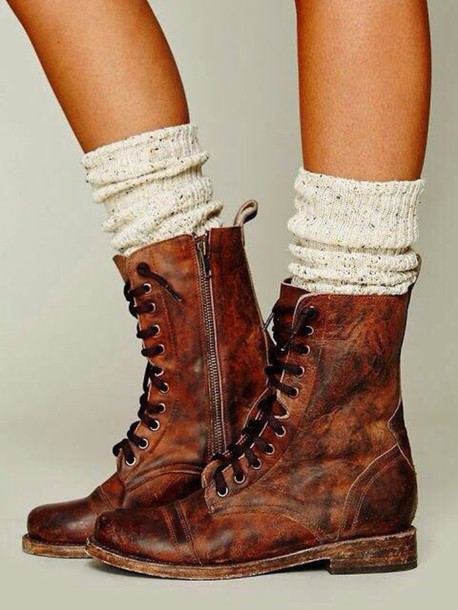 shoes boots brown leather boots socks wheretoget