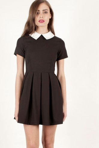 Black Pleated Short Sleeve Black Contrast Collar Structured Dress