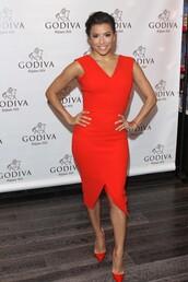 dress,red dress,bodycon dress,eva longoria,pumps,midi dress
