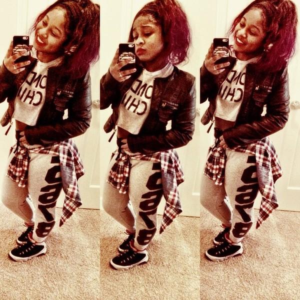 t-shirt colormeae crop tops swag girl cute instagram reginae carter gangsta jacket pants