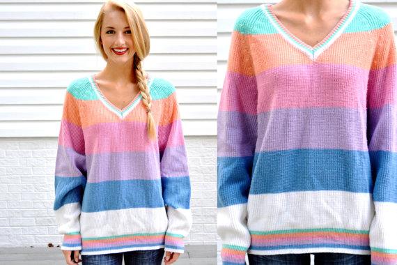 357e76ac3c81f1 Vintage Gitano Pastel Striped Sweater Womens V Neck Pullover ...