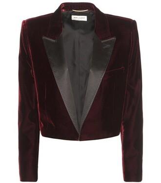 jacket cropped velvet red