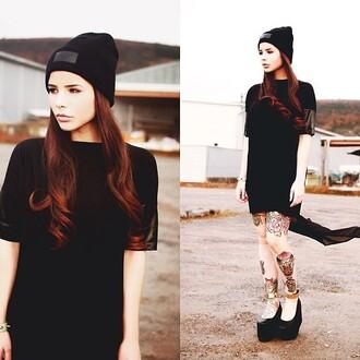 dress black top beenie black