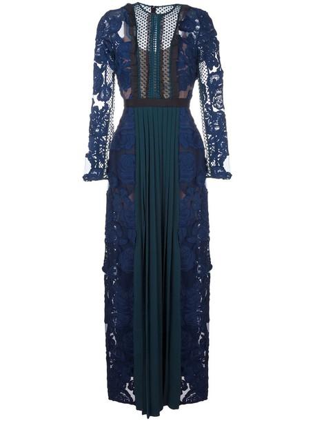 self-portrait dress women spandex lace blue