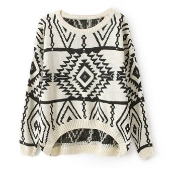 Amazon.com: Zeagoo Women's Geometric Knitted Sweater Loose Pullover Outwear Beige: Clothing