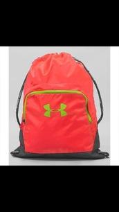 bag,under armour,bookbag,drawstring,pink,cute,school bag,backpack,neon,green,back to school