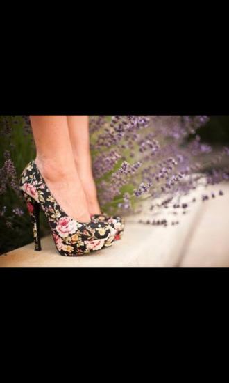 shoes floral black heels