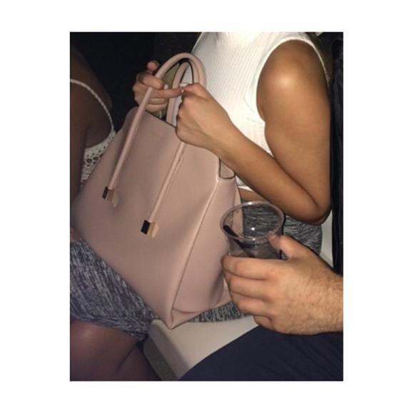 metallic bag light pink light pink bag michael kors leather bag hot girl