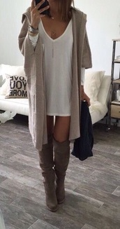 cardigan,nude,knitted cardigan,dress,t-shirt dress,white,beige cardigan,tan baggy cardigans,shirt,sheer,v neck,pale,shoes,knee high,white dress,fall outfits,fall sweater,fall accessories,accessories,cute,outfit,oversized cardigan,fall dress,boots,knee high boots,sweater,tan,long,coat,boots grey,white t-shirt dress,winter outfits