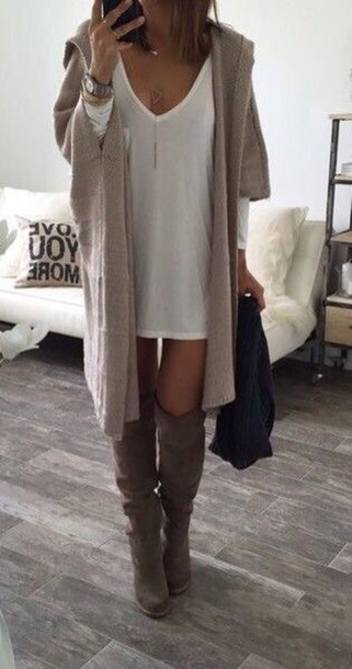 Cardigan: nude, knitted cardigan, dress, t-shirt dress, white ...