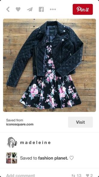 jacket leather leather jacket black black jacket dress skater skater dress floral fashion floral dress ootd outfit cute dress
