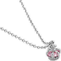 Pink Cubic Zirconia Crown Necklace