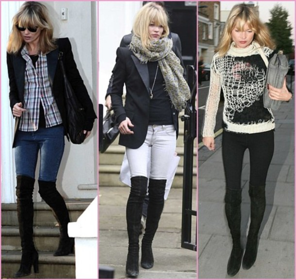 overknee boots black shoes kate moss amazing pullover black and white sweater