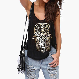 top word vest hamsa hand gold foil