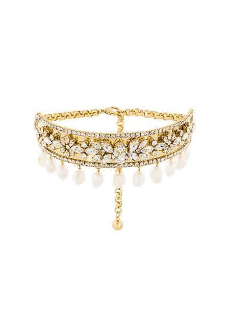 women pearl embellished grey metallic jewels