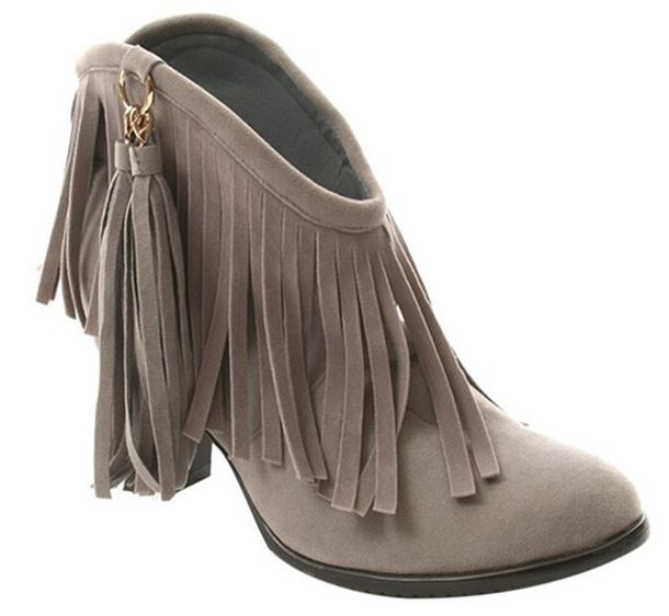 Shoes: grey boots, winter trend, square heel, boots, ankle boots ...