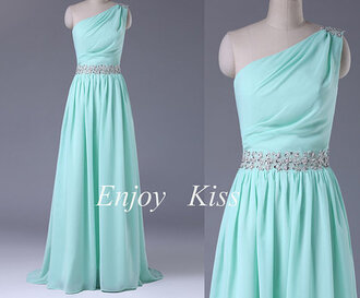 dress elegant one-shoulder prom gown lace-up bridesmaid  dress long prom dress with beading belt lace-up prom dresses prom gowns one-shoulder prom dresses beading prom dresses beading belt prom dresses