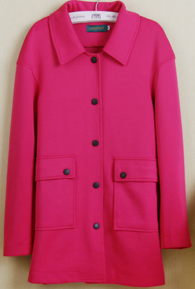 Candy color long jacket coat loose black button elegant business