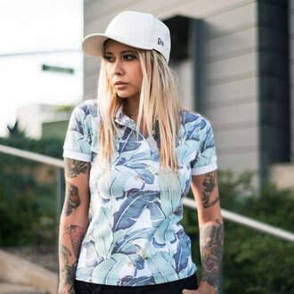 t-shirt fusion clothing polo shirt top girl hipster summer top tattoo floral flowers collared dress banana leaves print clothes white blonde hair cap piercing