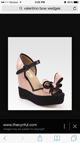 shoes valentino wedges bow pink black