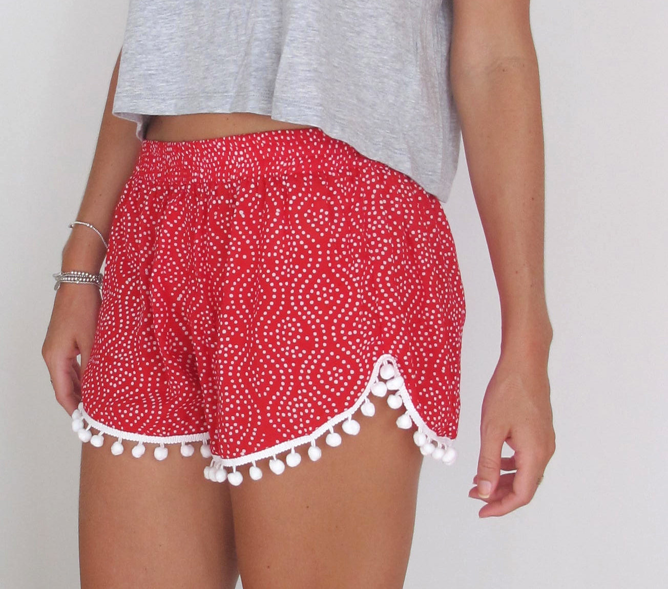 Red and white polkadot print