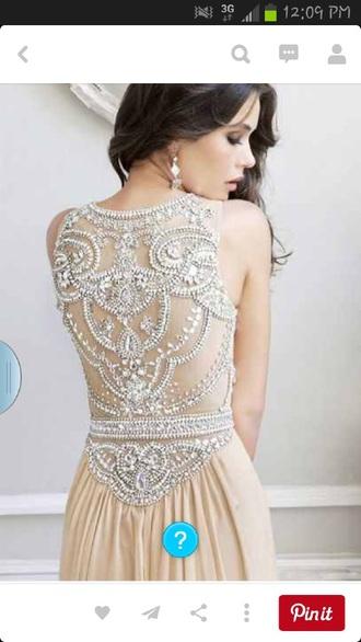 dress tan dress tan flowy dress flowy see through jewels sparkles see through dress