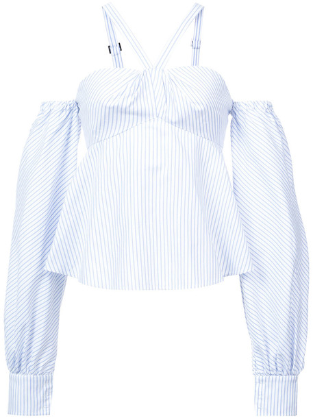 Jonathan Simkhai - off shoulder striped top - women - Cotton - 0, Blue, Cotton