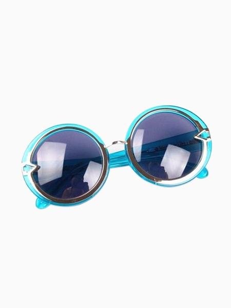 Vintage Round Sunglasses in Crystal Blue | Choies