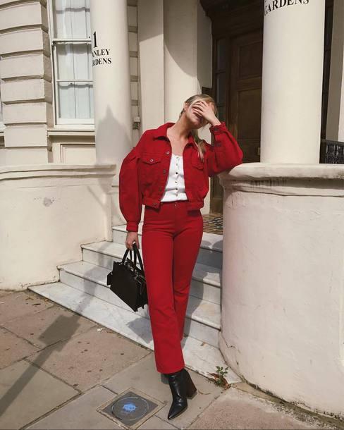 jacket tumblr red jacket denim jacket denim pants red pants all red wishlist boots black boots bag black bag top white top