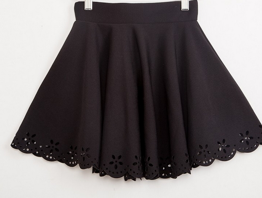 Mid Waist flower Hollow Out short Skirts
