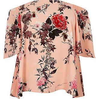 top off the shoulder bardot floral