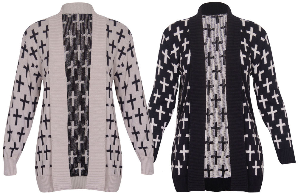 Womens Cross Print Ladies Long Sleeves Knitted Front Open Cardigan Top Plus Size | eBay
