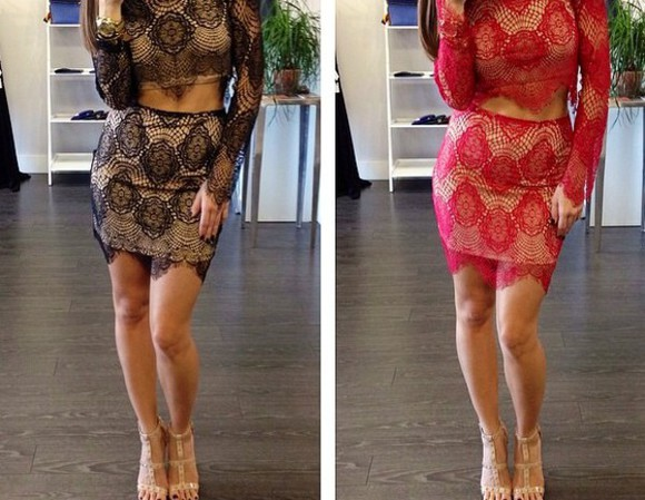 lace dress criptops skirt