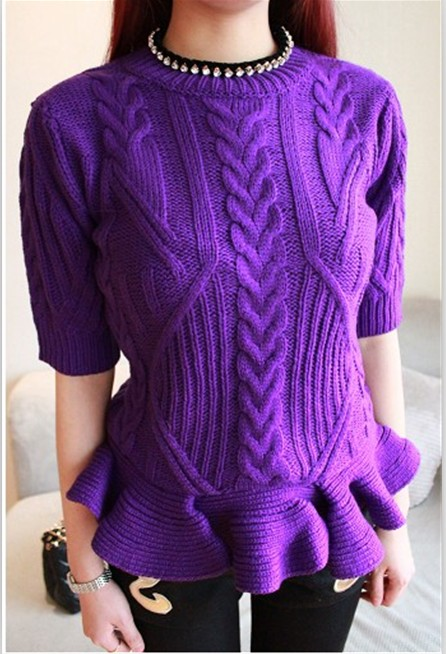 com : Buy 2014 spring short sleeve twisted knitted sweater sweep ...