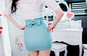 skirt,bow,teal,high waisted,mini skirt,blue skirt,shirt,blue,light blue,lace,lace shirt,bows,bow skirt,pencil skirt,cute,cute outfits,sexy,outfit,buy,dance,tight,hot topic,style,dress,white top short cute