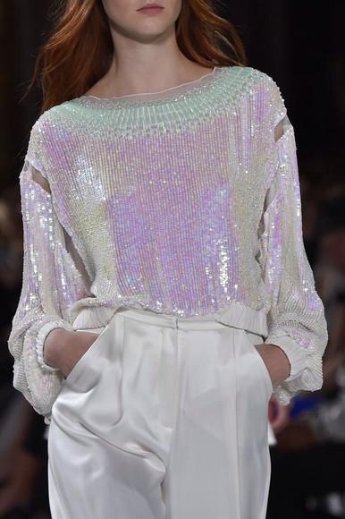 metallic blouse pale