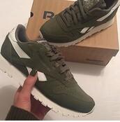 shoes,Reebok,khaki,olive green,sneakers,green,green sneakers,khaki shoes,reebok classic
