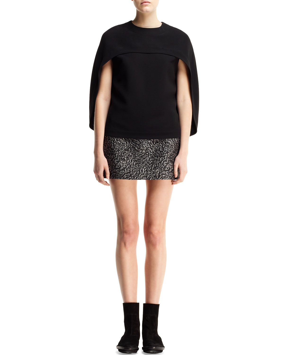 Balenciaga Crewneck Cape-Sleeve Top and Astrakhan-Jacquard Miniskirt