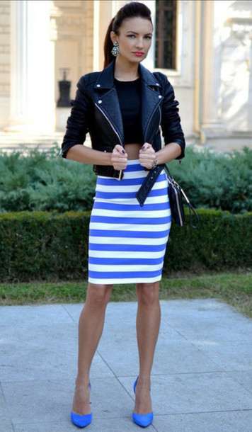 29586d9ac skirt, leather jacket, crop tops, messenger bag, earrings, shoes ...