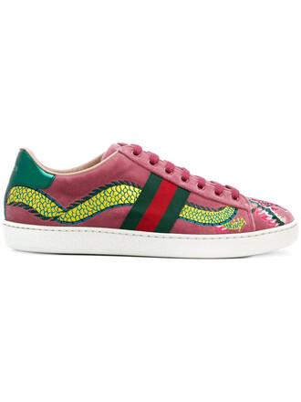 embroidered women sneakers leather velvet purple pink shoes