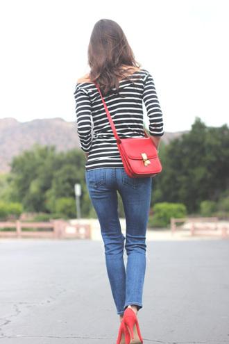frankie hearts fashion blogger red bag celine bag
