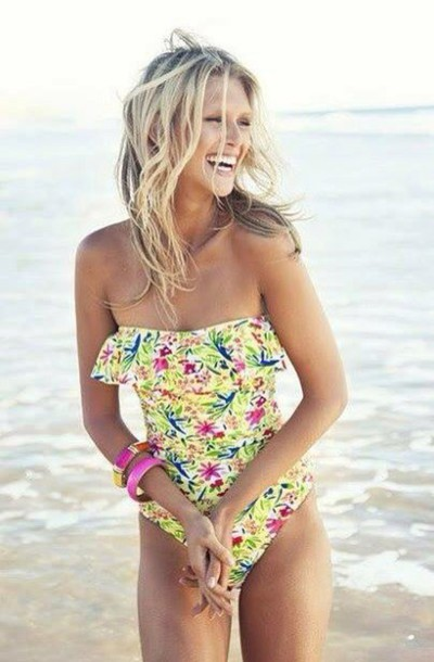swimwear floral style fashion collor vintage swimwear green swimwear biquini swimwear trendy outfit today