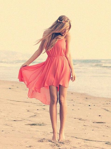 dress coral dress summer dress summer outfits beach dress cute dress