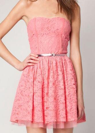 dress tumblr lace homecoming pink strapless dress pink dress flowers cute dress prom lace dress cute kawaii pretty sweet flirty feminine girly hot summer dress summer