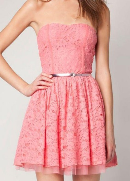 dress kawaii cute pink dress girly lace dress sweet pretty flirty feminine tumblr lace homecoming pink strapless dress flowers