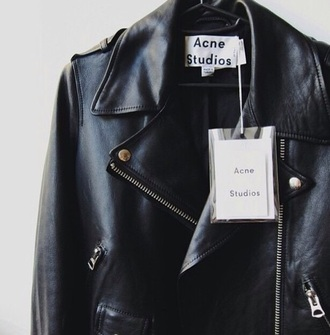 acne studios jacket leather leather jacket black black jacket black leather black leather jacket cool perfecto grunge minimalist cuir