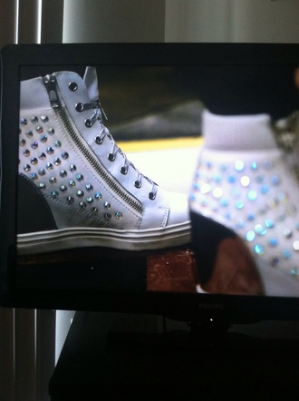 shoes white black rhinestones wedges wedge sneakers becky g crystal lace up zip
