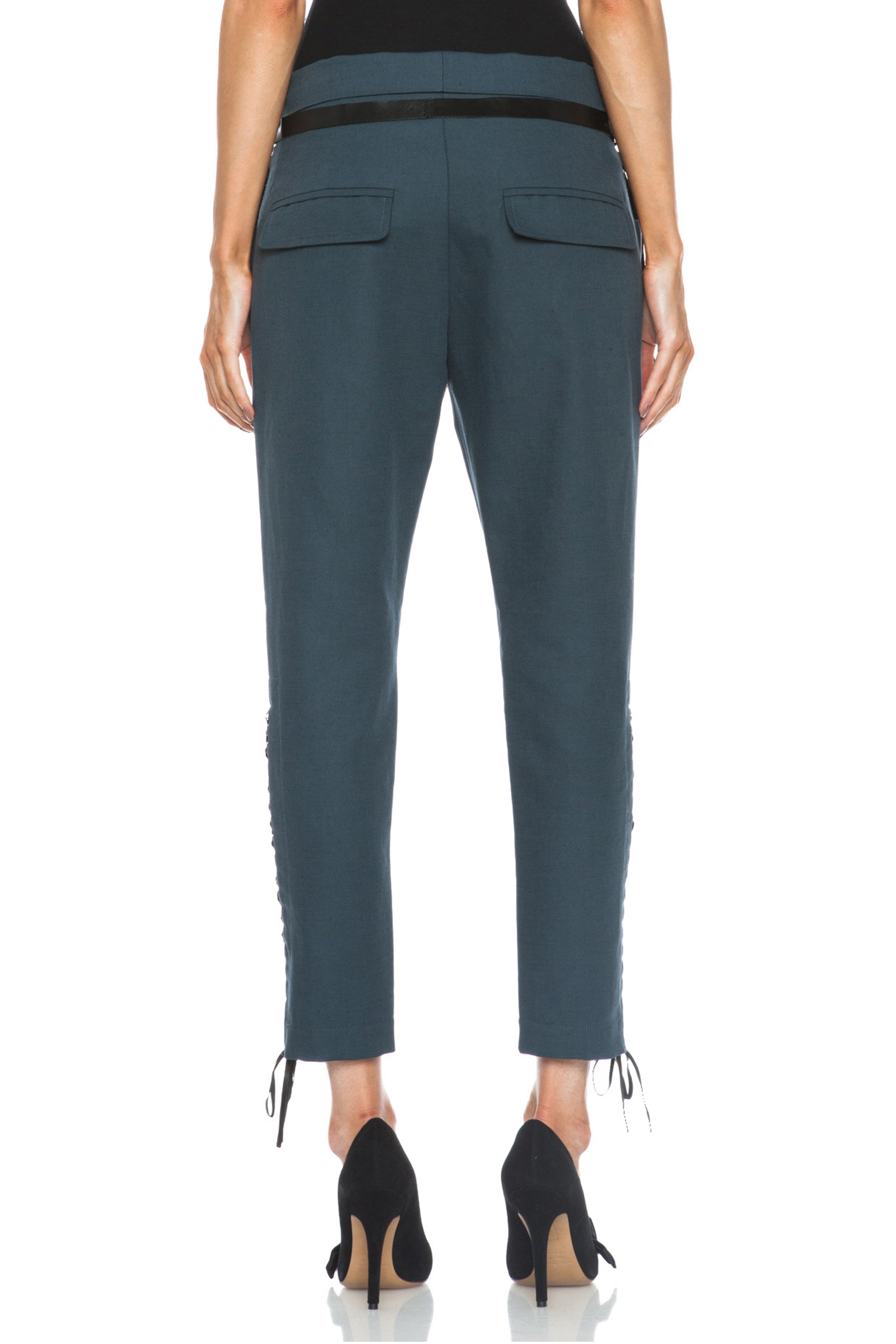 Isabel Marant|Den Linen-Blend Cropped Pants in Slate Blue